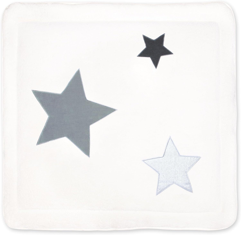BEMINI Tapis de Parc Collection Stary motifs /étoiles Gris fonc/é 100 x100 cm en Terry