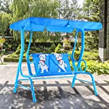 HAPPYGRILL Mini Patio Swing, 2 Seats Porch Swing with Safety Belt, Outdoor Lounge Chair Hammock with Canopy for Kids, Blue