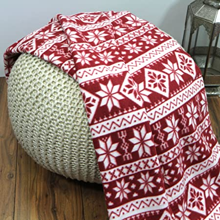 Just Contempo Christmas Nordic Snowflakes Fleece Throw Blanket Red Delectable Red And White Christmas Throw Blanket