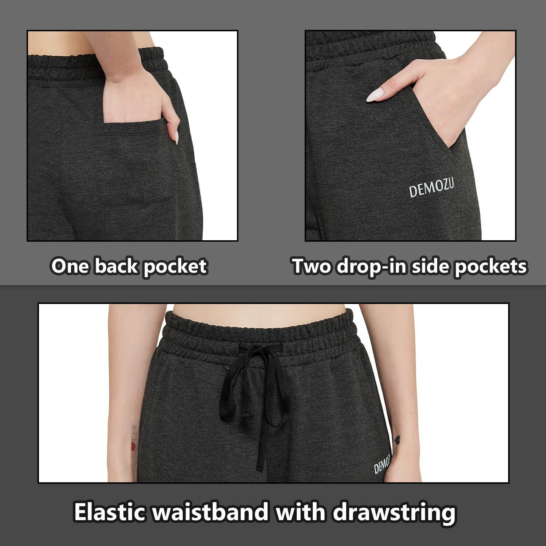 DEMOZU Womens Cotton Capri Yoga Pants Crop Loose Active Workout Lounge Casual Pants with Pockets Reg//Plus Size