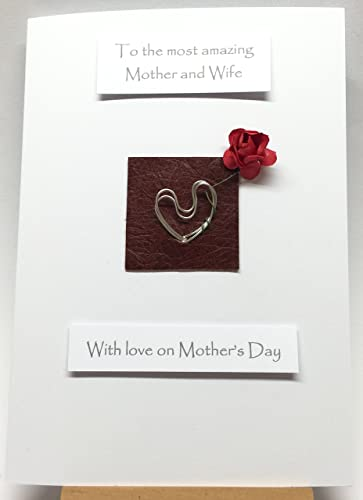 mother s day card husband to wife silver aluminium hearts leather