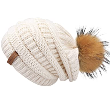 04af89d9524 FURTALK Womens Winter Slouchy Knit Beanie Chunky Fur Pom Poms Hat Ski Cap