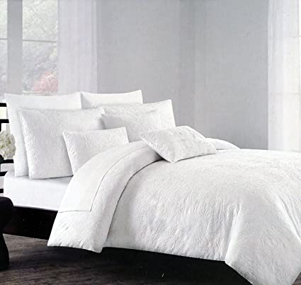 set piece com reversible white comforter and blue twin medallion dp tahari amazon