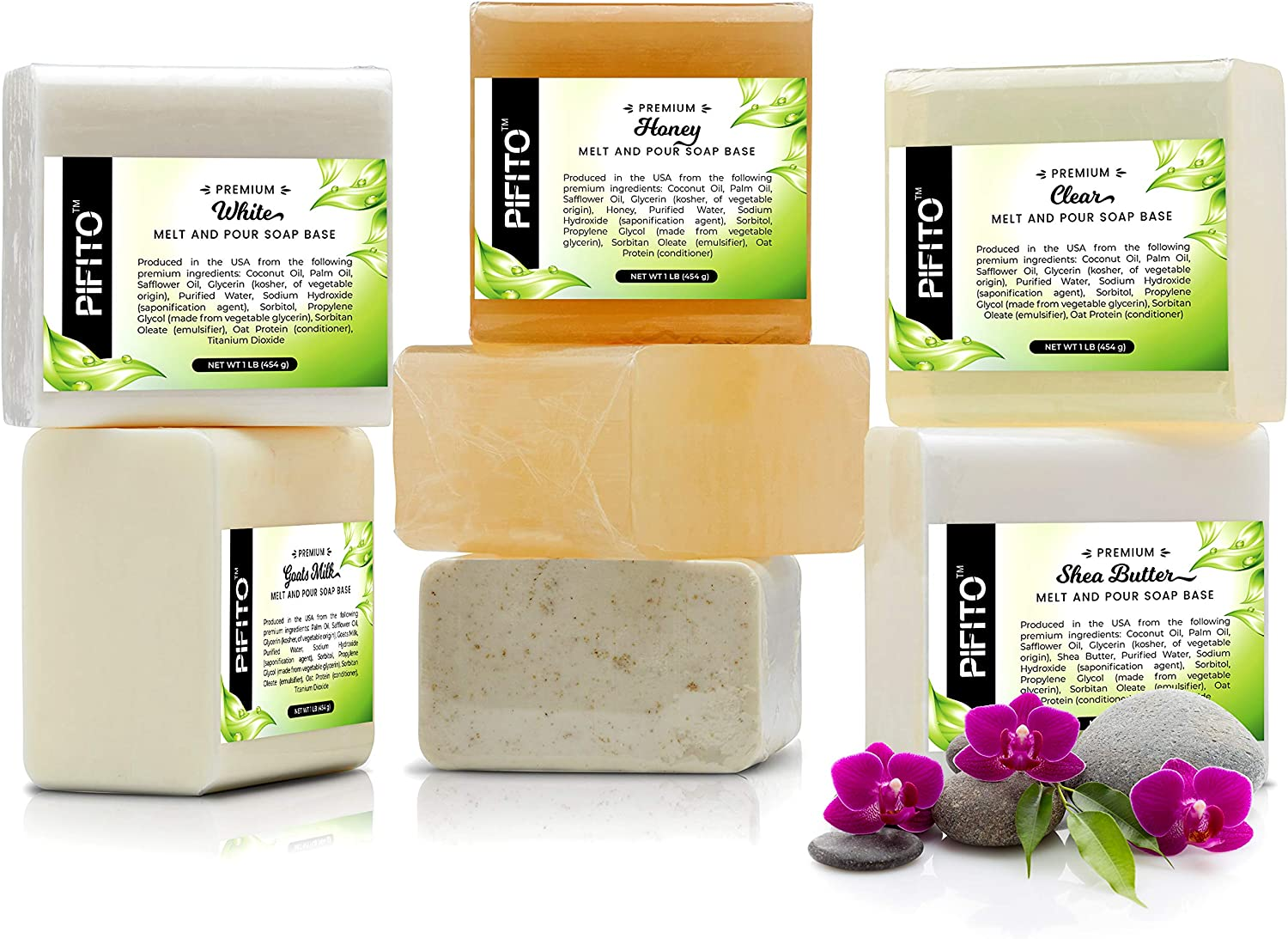 Pifito Melt and Pour Soap Base Sampler (7 lbs) │ Assortment of 7 Bases (1lb ea) │ Clear, White, Goats Milk, Shea Butter, Oatmeal, Honey, Olive Oil │ Glycerin Soap Making Supplies: Arts, Crafts & Sewing