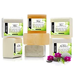 Pifito Melt and Pour Soap Base Sampler (7 lbs) │ Assortment of 7 Bases (1lb ea) │ Clear, White, Goats Milk, Shea Butter, Oatmeal, Honey, Olive Oil │ Glycerin Soap Making Supplies