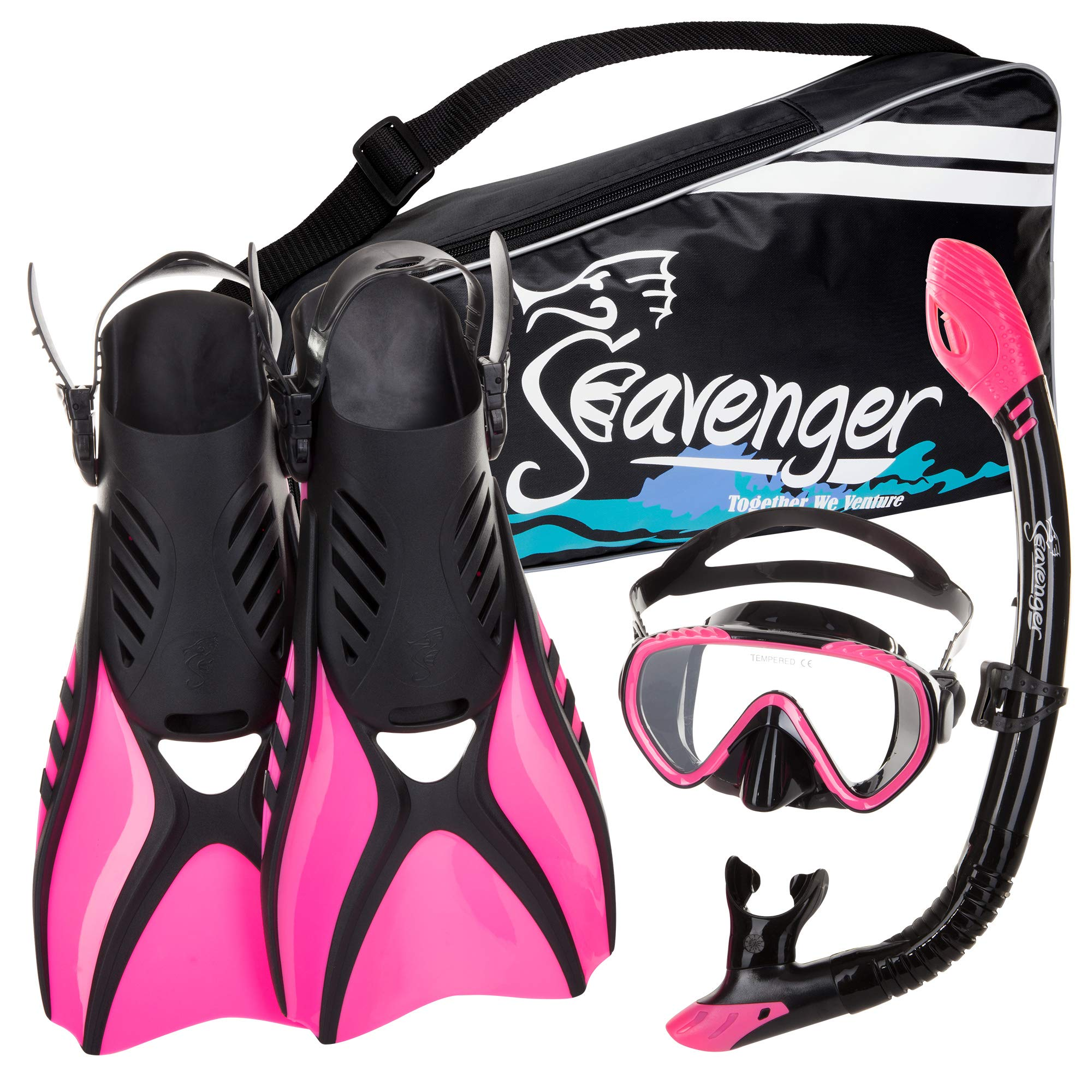 Seavenger Diving Snorkel Set - (Black Silicon/Pink) - M by Seavenger