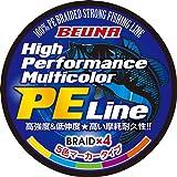 BEUNA 4編 PEライン 300m 500m 1000m マルチカラー PE 釣り糸 0.4号 0.6号 0.8号 1号 1.2号 1.5号 2号