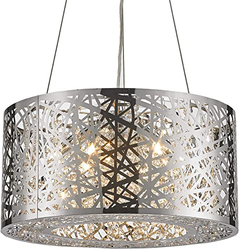 Worldwide Lighting Aramis Collection 6 Light Chrome Finish and Clear Crystal Drum Round Chandelier 16 D x 9 H Mini