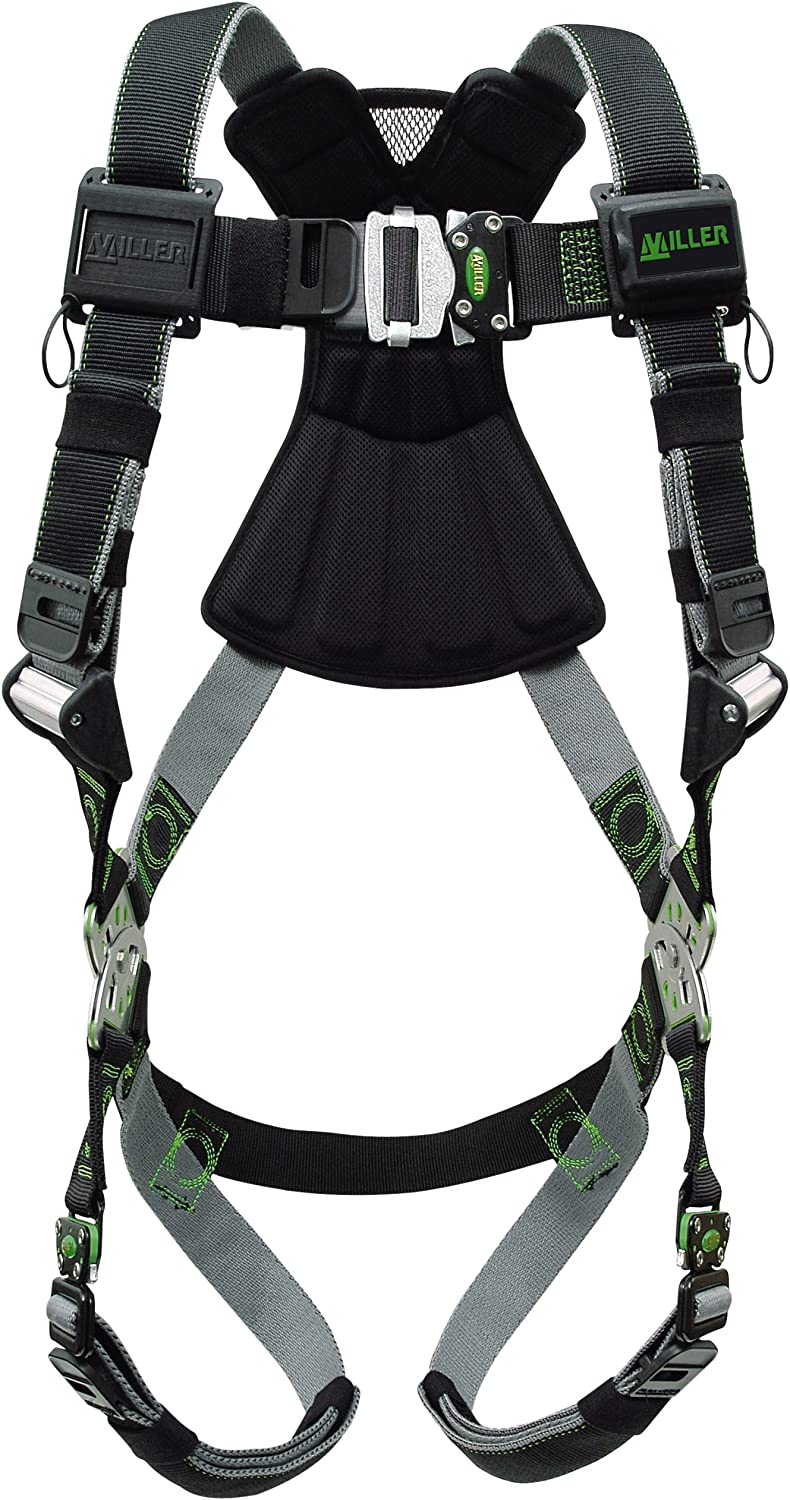 Miller Revolution Full Body Safety Harness with Quick Connectors, Universal Size-Large/XL, 400 lb. Capacity (RDT-QC/UBK)