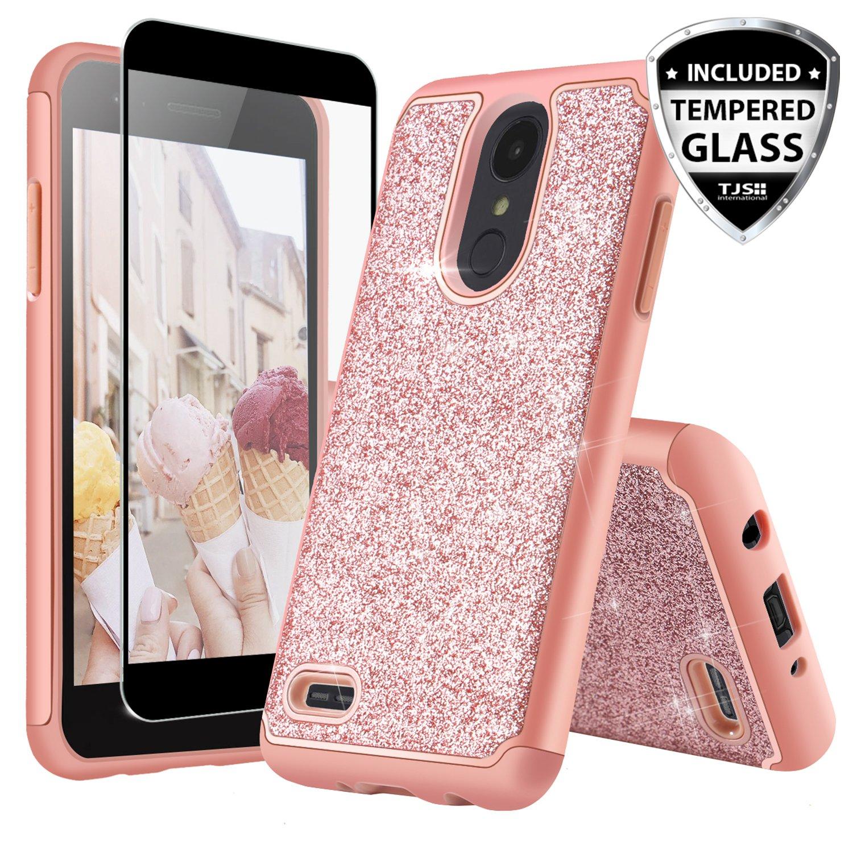 TJS Case for LG Aristo 2/Aristo 2 Plus/Aristo 3/Aristo 3 Plus/Tribute Dynasty/Tribute Empire/Fortune 2/Rebel 3 LTE [Full Coverage Tempered Glass Screen Protector] Glitter Girls Women Phone (Rose gold)
