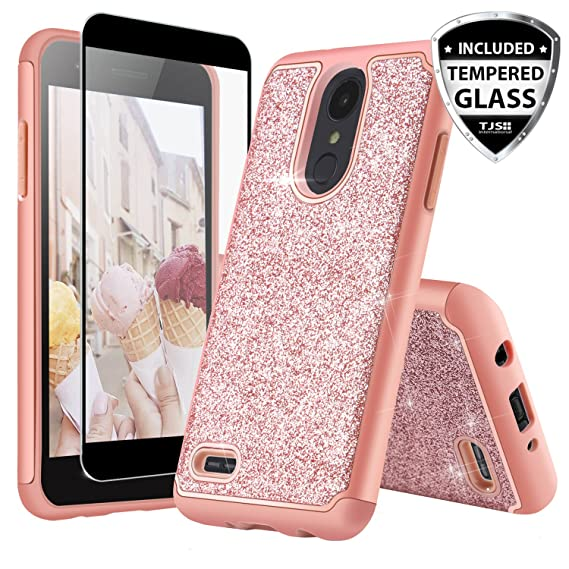 TJS Case for LG Aristo 2/Aristo 2 Plus/Aristo 3/Aristo 3 Plus/Tribute  Dynasty/Tribute Empire/Fortune 2/Rebel 3 LTE [Full Coverage Tempered Glass