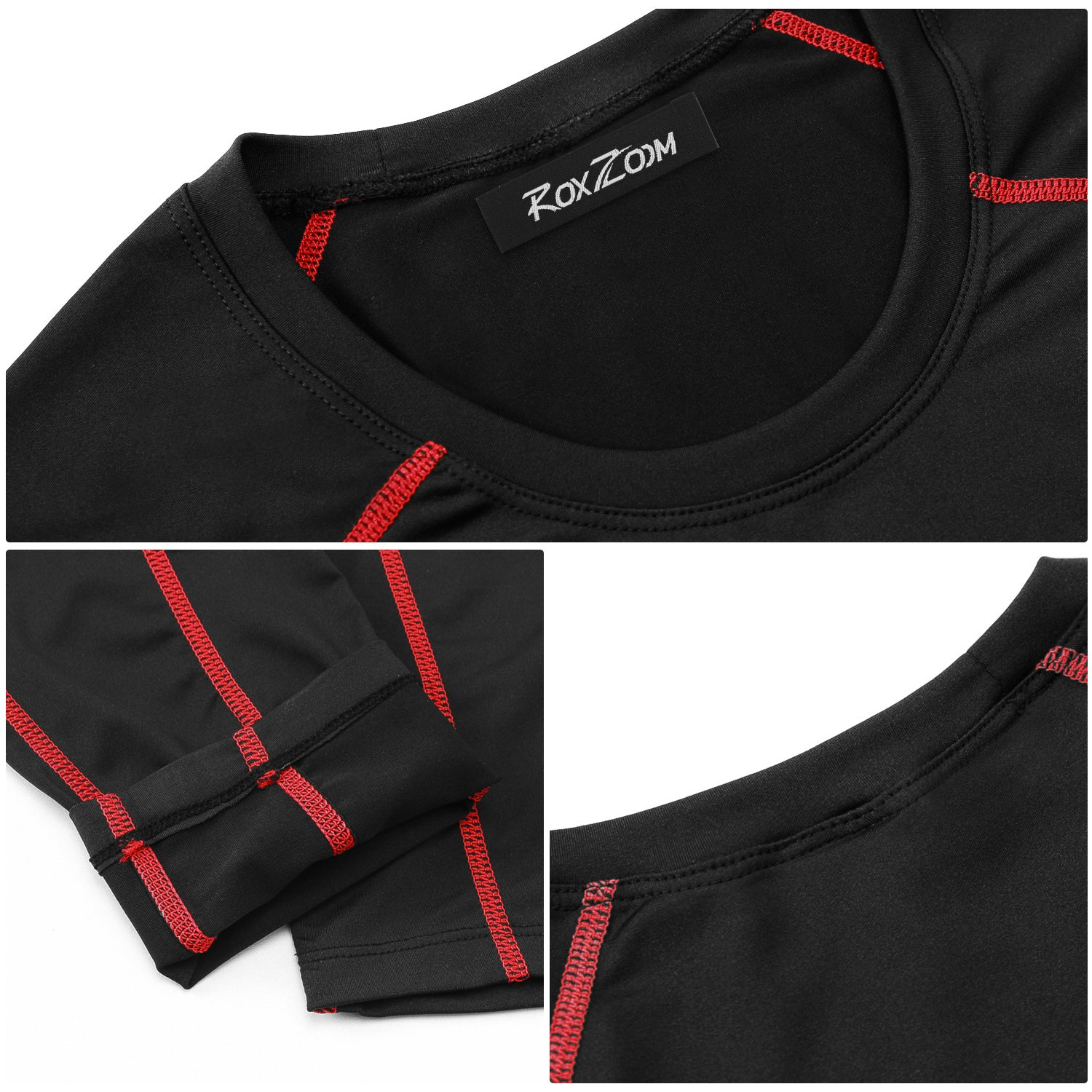 RoxZoom Mens Elastic Fitness Quick-Drying Suit Tight-Fitting Sports Workout T-Shirt Pants Athletic Tops Leggings Suit for Running Jogging
