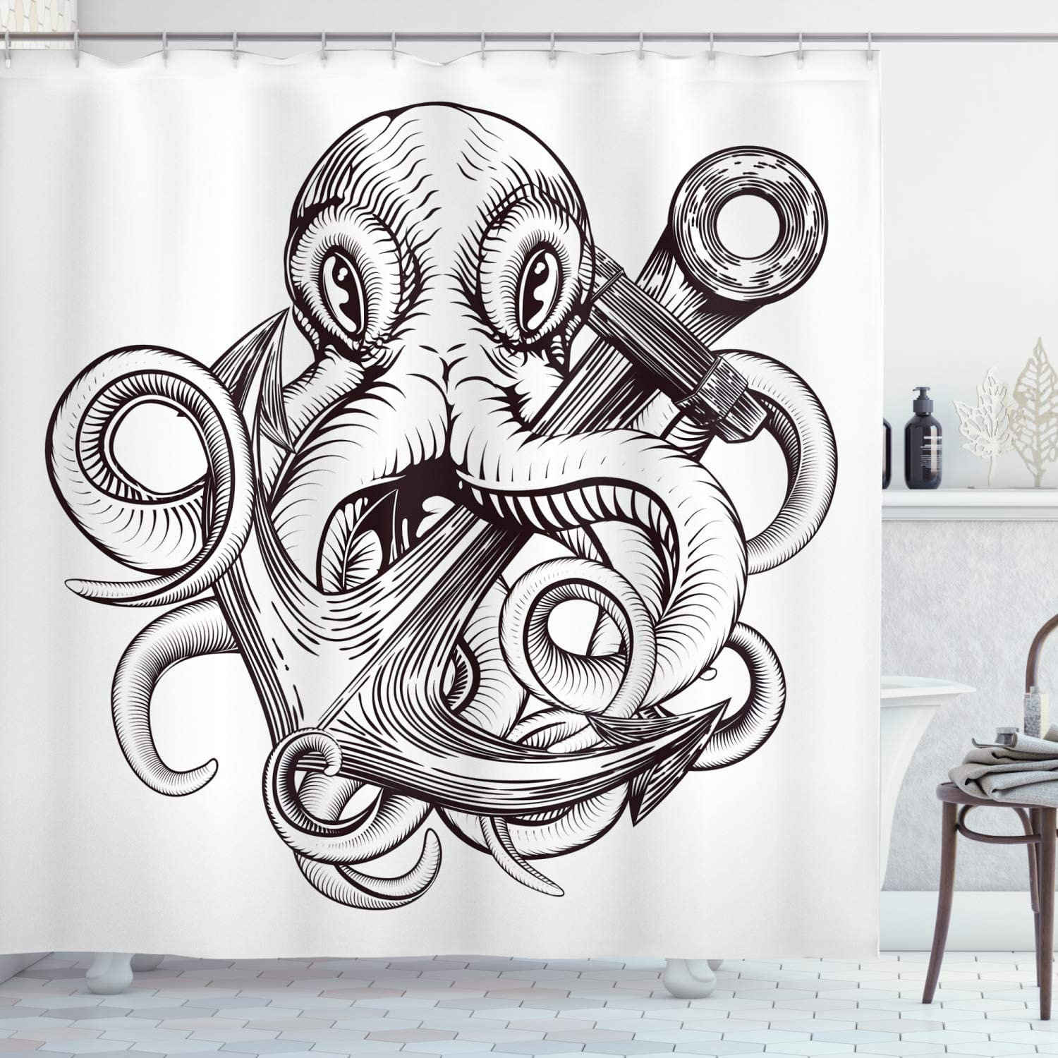 """Ambesonne Anchor Shower Curtain, Monochrome Octopus Tattoo Art Style Naval Sketch Mythical Kraken Beast Design, Cloth Fabric Bathroom Decor Set with Hooks, 70"""" Long, White Brown"""