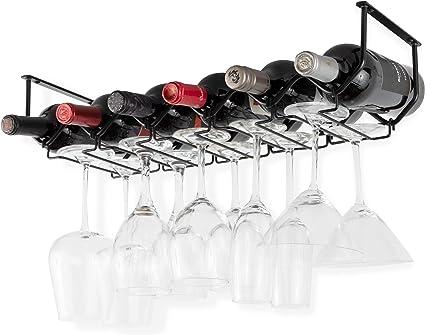 Wallniture Piccola Under Cabinet Wine Rack Glasses Holder Kitchen Organization With 6 Bottle Organizer Metal Black Amazon Co Uk Diy Tools