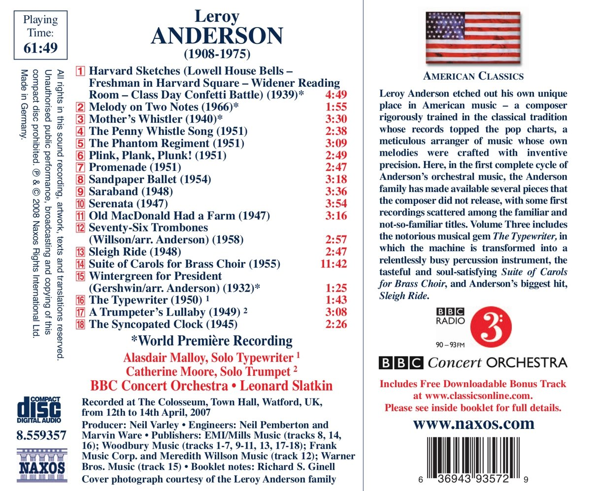 Anderson: Orchestral Works, Vol. 3