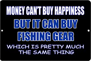 Rogue River Tactical Funny Fishing Metal Tin Sign Wall Decor Man Cave Bar Money Can't Buy Happines Fishing Gear