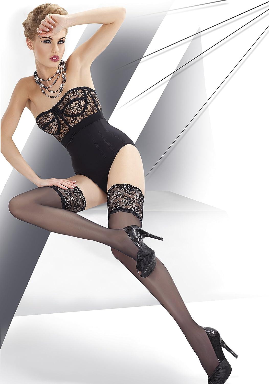 Annes lusso super fine 15/denari sheer Lace top autoreggenti/ /disponibile in nero bianco e naturale