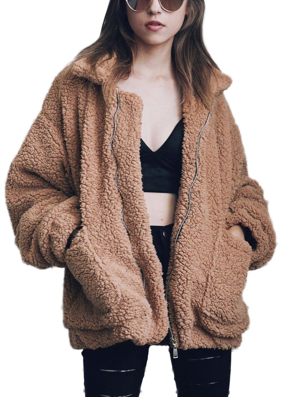JEERISE Women's Casual Warm Fluffy Shaggy Faux Fur Zip up Shearling Jacket Casual Oversized Outwear Coat