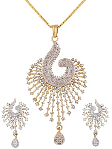 7503d38eb9cbd Swasti Peacock Shaped Zircon CZ Fashion Jewelry Set Pendant Earrings with  Chain for Women