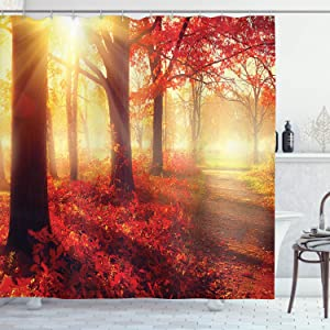 """Ambesonne Woodland Shower Curtain, Sun Beams Through Misty Old Forest in Fall Season Morning View Dreamy Picture, Cloth Fabric Bathroom Decor Set with Hooks, 75"""" Long, Yellow Red"""