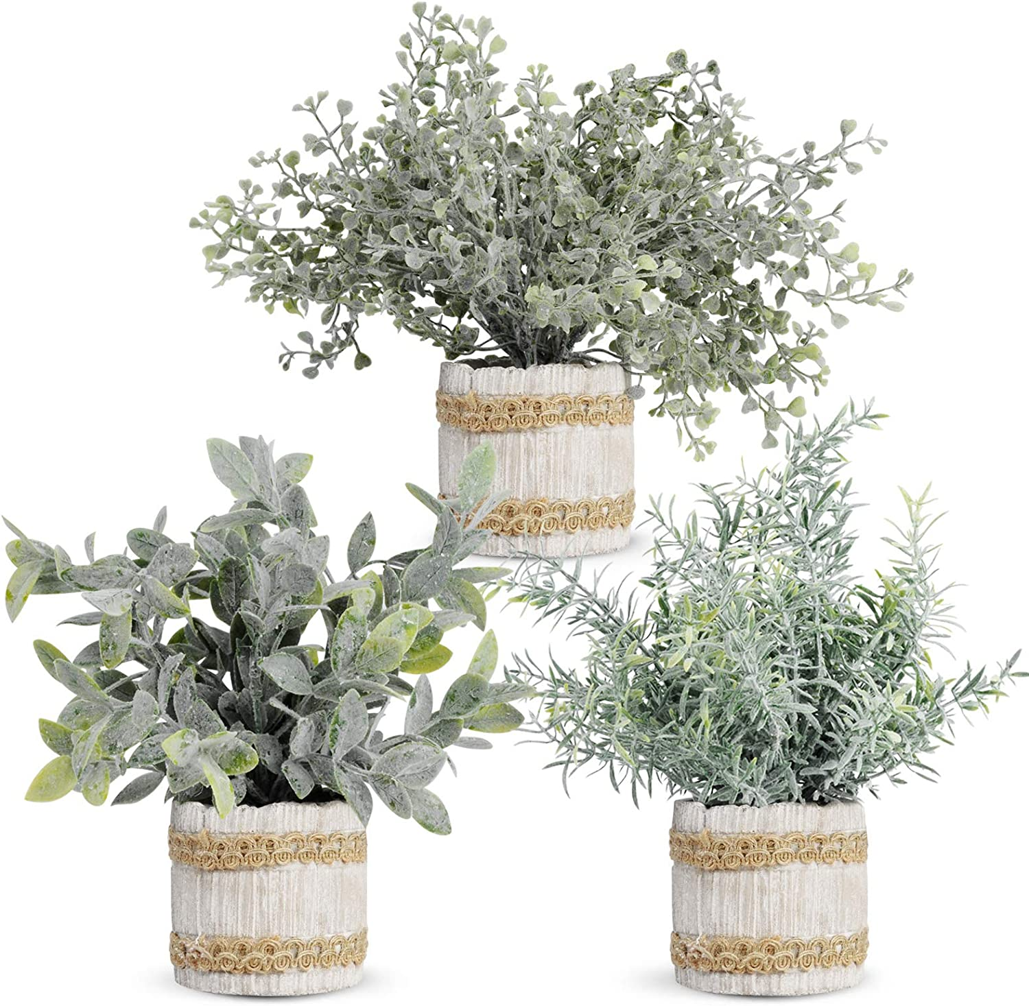 JC nateva 3 Packs Small Fake Plants Mini Artificial Potted Plants Faux Plants Indoor for Home Office Farmhouse Kitchen Bathroom Table Decor
