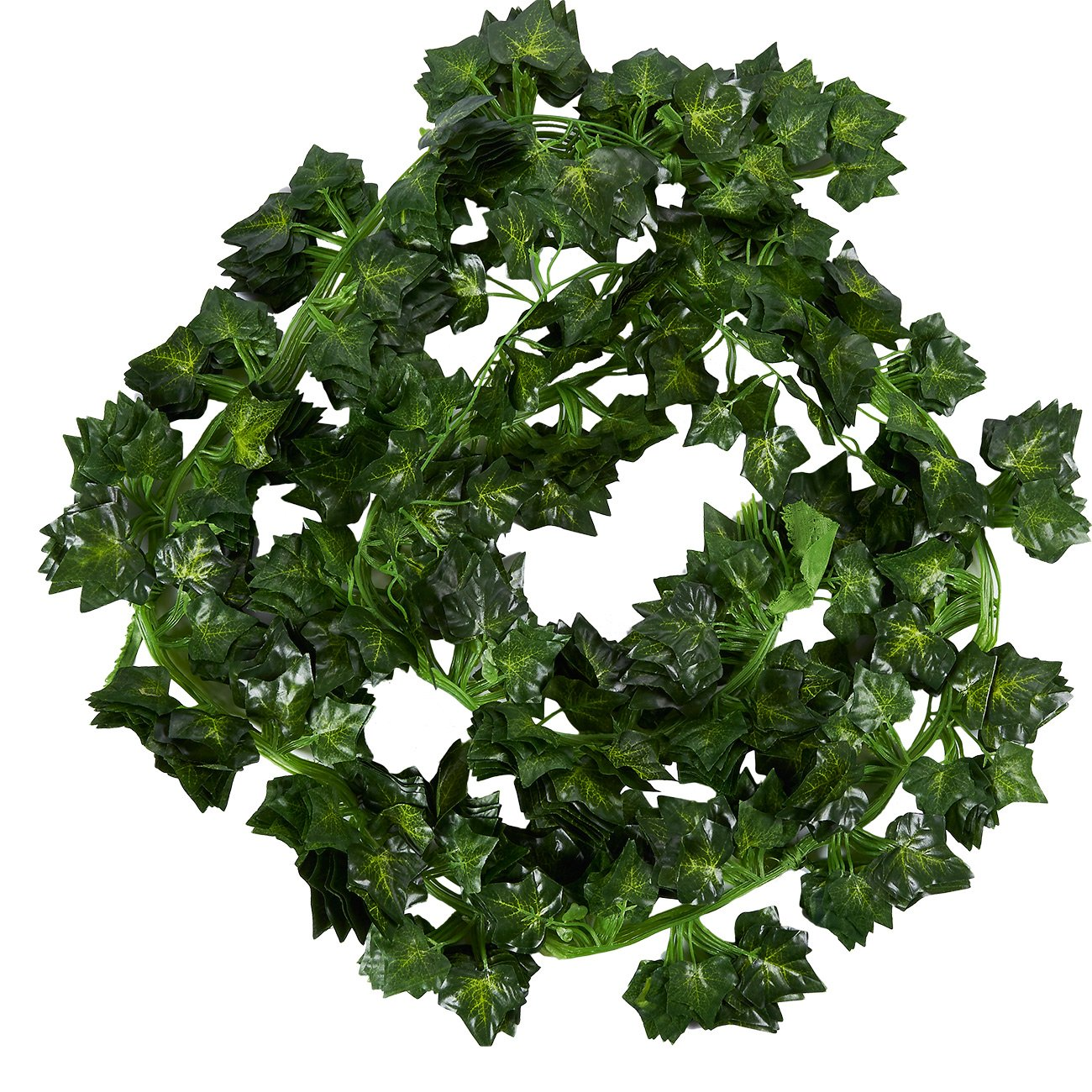 Juvale Artificial Ivy Garland - 12-Pack Fake Vines, Greenery Ivy Leaf, Artificial Hanging Garland for Home, Wedding, Party, Restaurant Decor, Office, Wall Décor, 2.4 Yards