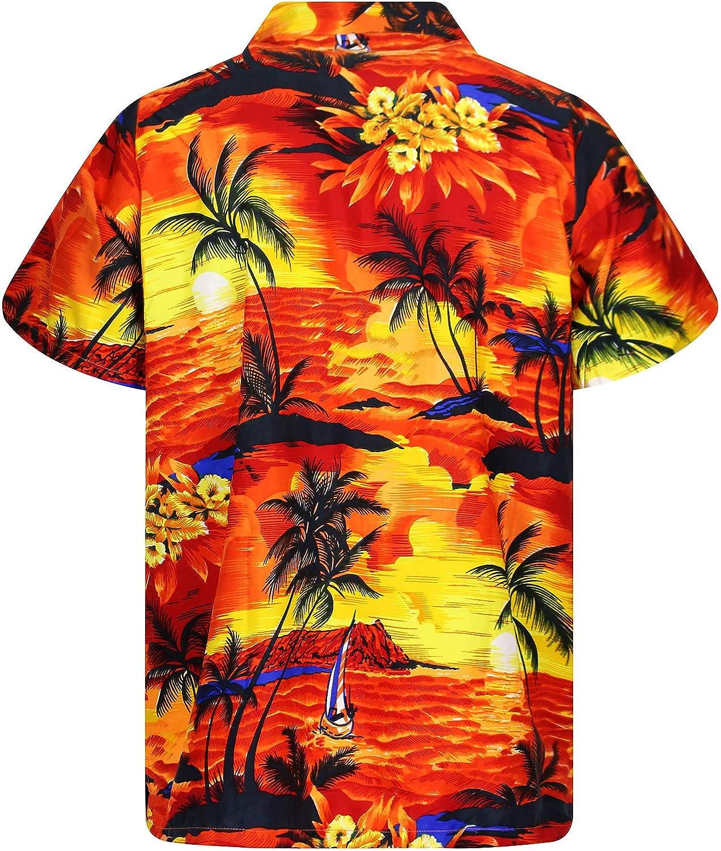 Funky Hawaiian Shirt for Men Shortsleeve Front-Pocket Casual Button Down Surf V.H.O