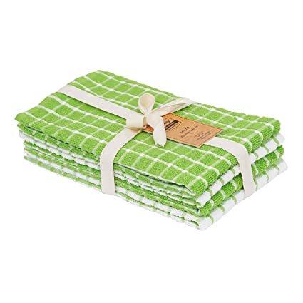 DAILY HOME ESSENTIALS 100% Cotton Terry Chef Kitchen Towels, Large Tea  Towel, Absorbent Cafe, Bar & Restaurant Dish Rag. (4 Pack - Green)