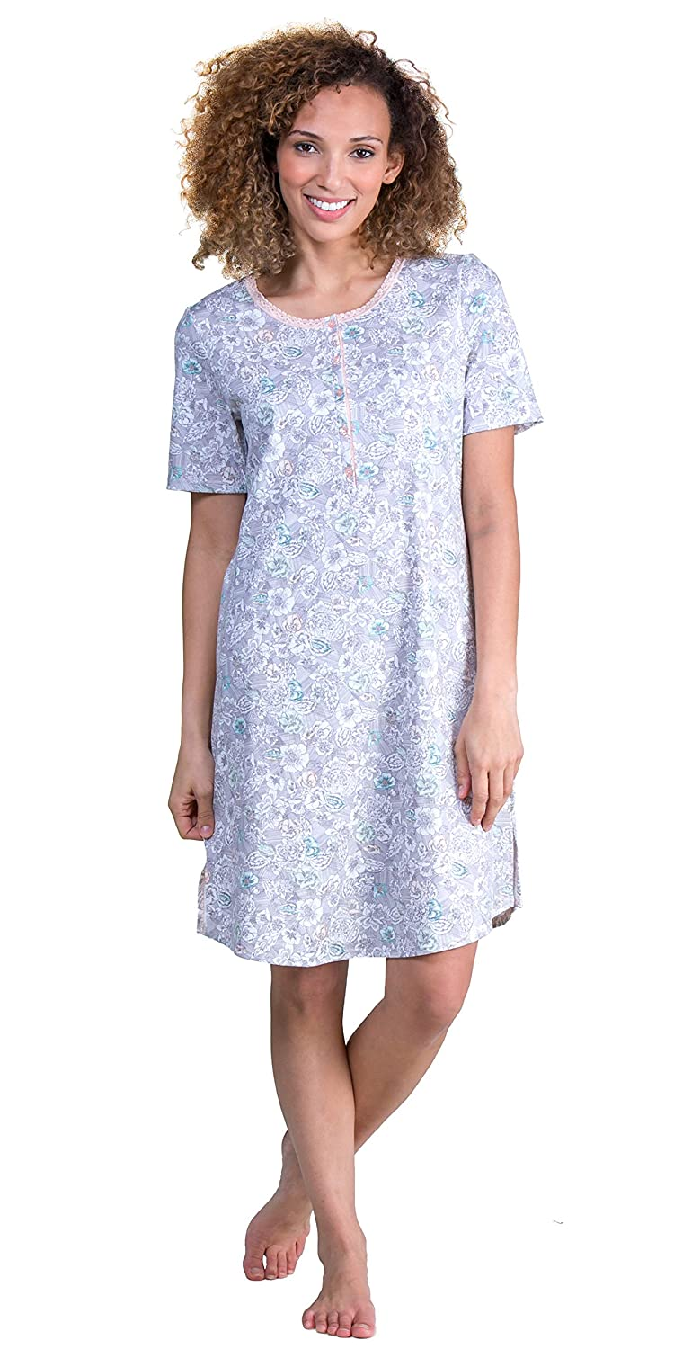 ea8561e360d1 Calida 100% Cotton Knit Short Sleeve Sleep Shirt in Sketch Floral at Amazon  Women's Clothing store: