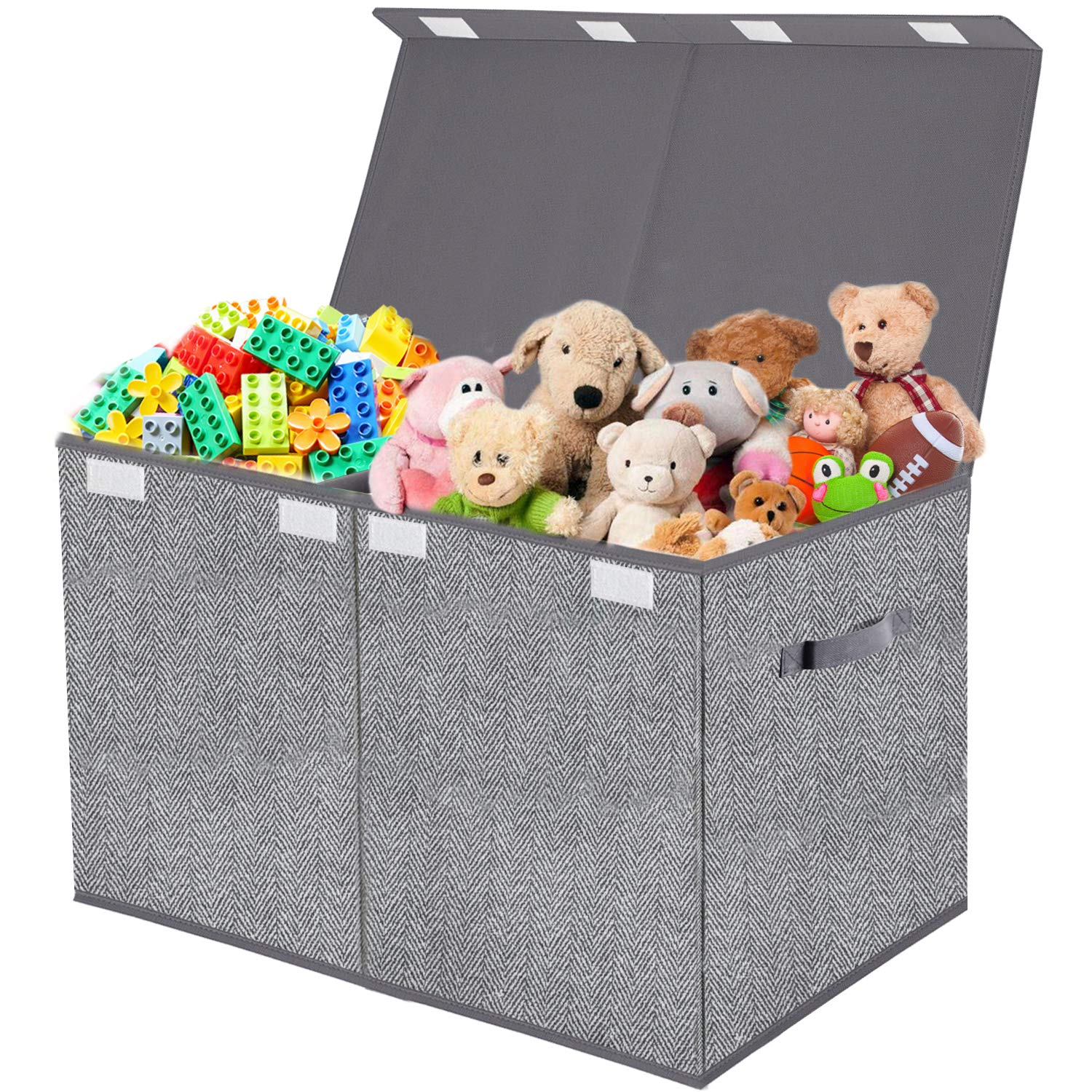 Toy Chest Organizer with Flip-Top Lid,Collapsible Kids Storage for Nursery,Playroom,Closet Home Organization,Herringbone Pattern(Grey)
