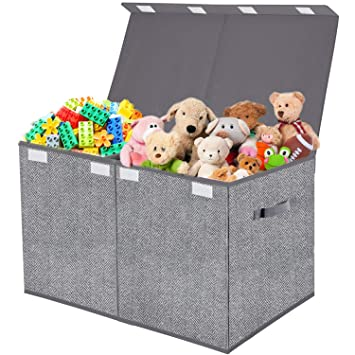 Home Organization Playroom Gray Sorbus Toy Chest with Flip-Top Lid Kids Collapsible Storage for Nursery Closet Large