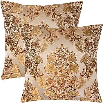 Amazon.com: Conjunto de 2 Damasco de Lujo Floral Cojín Funda ...