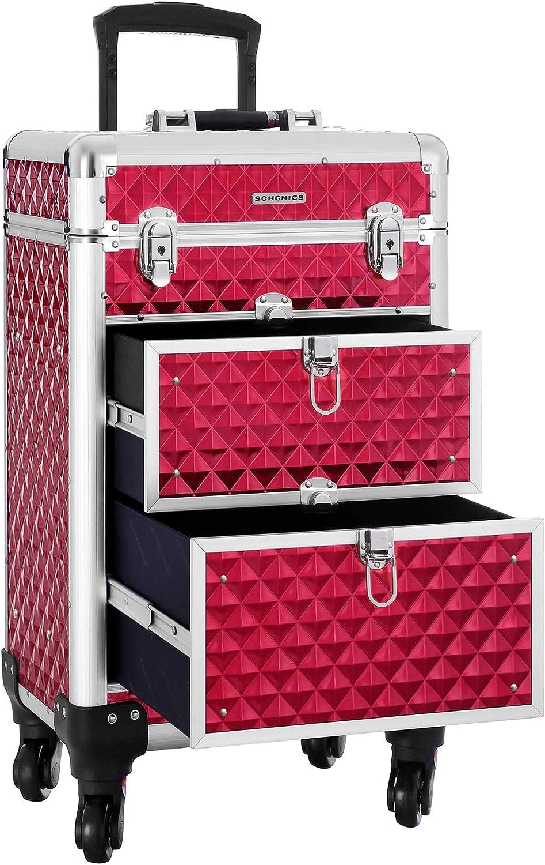 SONGMICS SONGMICS Valise de maquillage ABS Rouge 34 x 27 x 57 cm JHZ08RD Neceser de Viaje 57 Centimeters Rojo (Rouge)