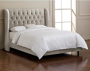 Skyline Furniture Velvet California King Tufted Wingback Bed, Light Gray
