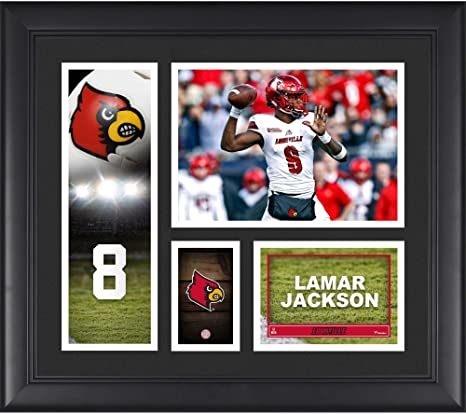 384c4c7ea Lamar Jackson Louisville Cardinals Framed 15 quot  x 17 quot  Player  Collage - College Player Plaques