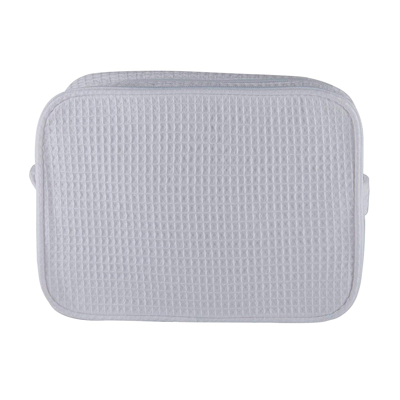 Turquaz Linen Waffle Travel Makeup Case, Cosmetic Makeup Bag Organizer, Women's Travel Toiletry Case