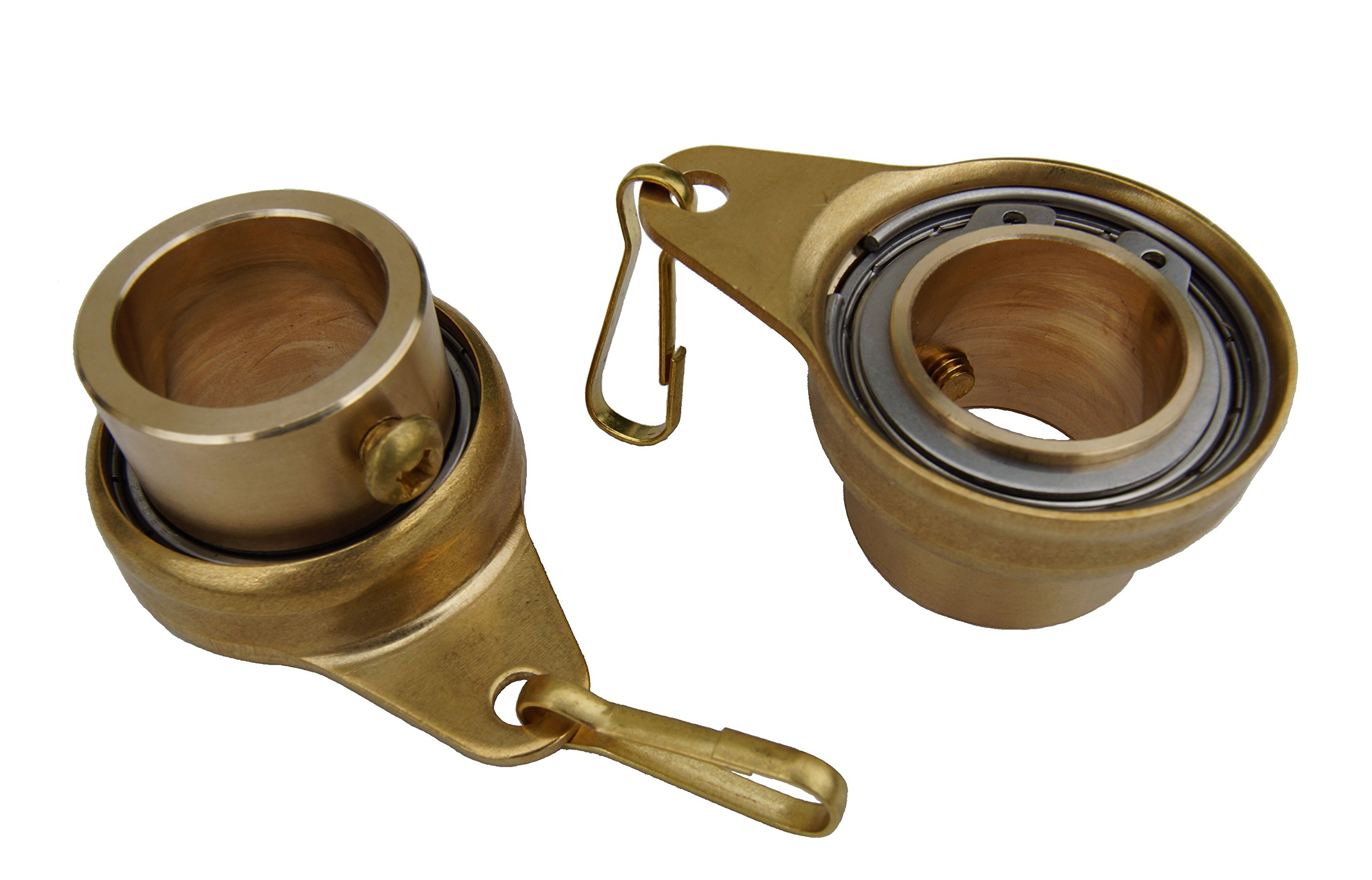 Stanwood Wind Sculpture Non Tangle Flagpole Swivel/Rotating Ring, Brass Spinner with Stainless Steel Bearing - 1'', Pack of 2, Imported