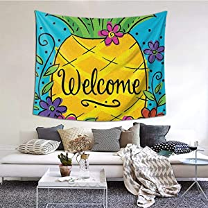 Pineapple Flowers Welcome Tapestry Wall Hanging Art Tapestries Decor Wall Blanket For Bedroom Living Room Home 60*51inch