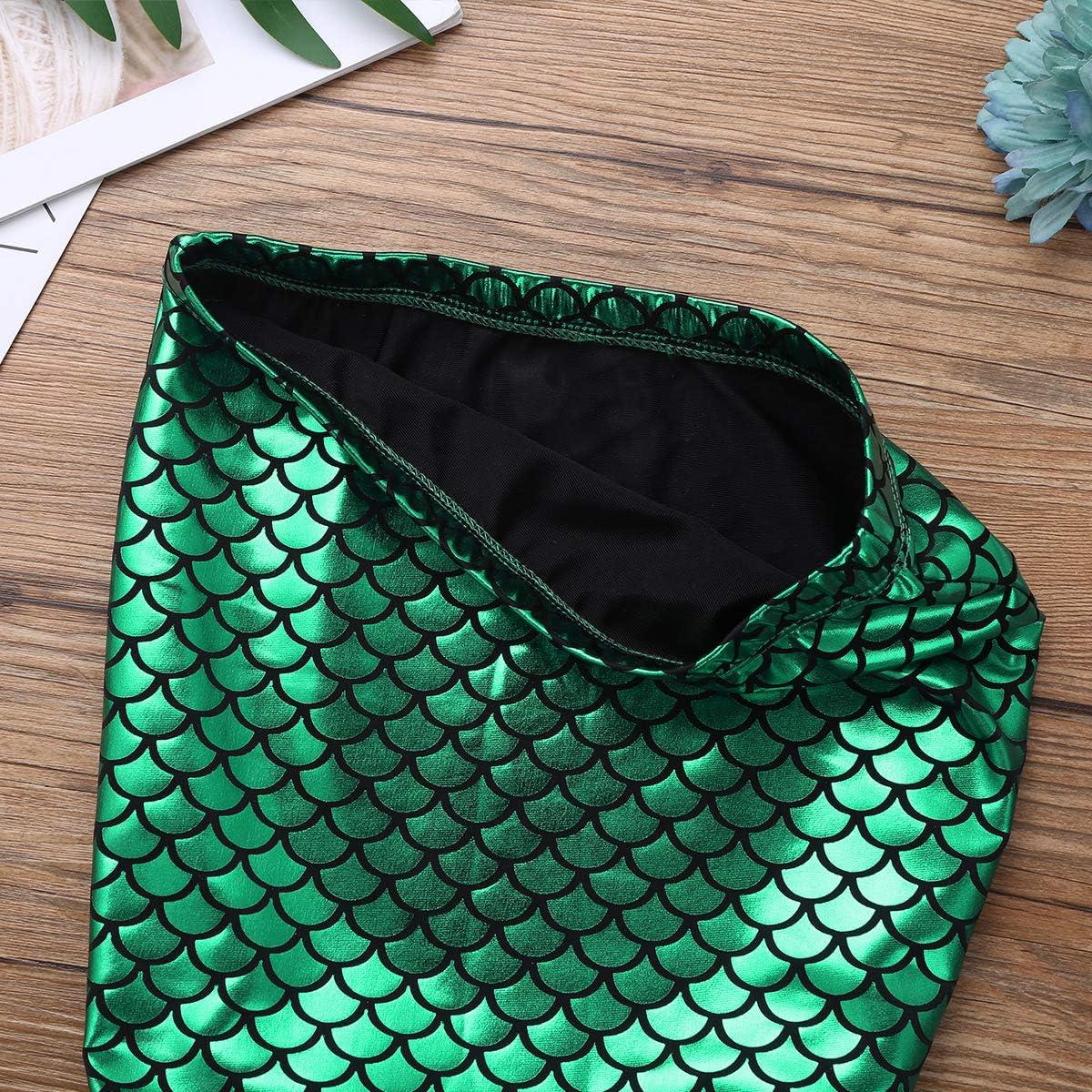 YONGHS Kids Girls Glossy Fish Scale Printed Mermaid Tail Walkable Skirt Costume for Halloween Cosplay Carnival