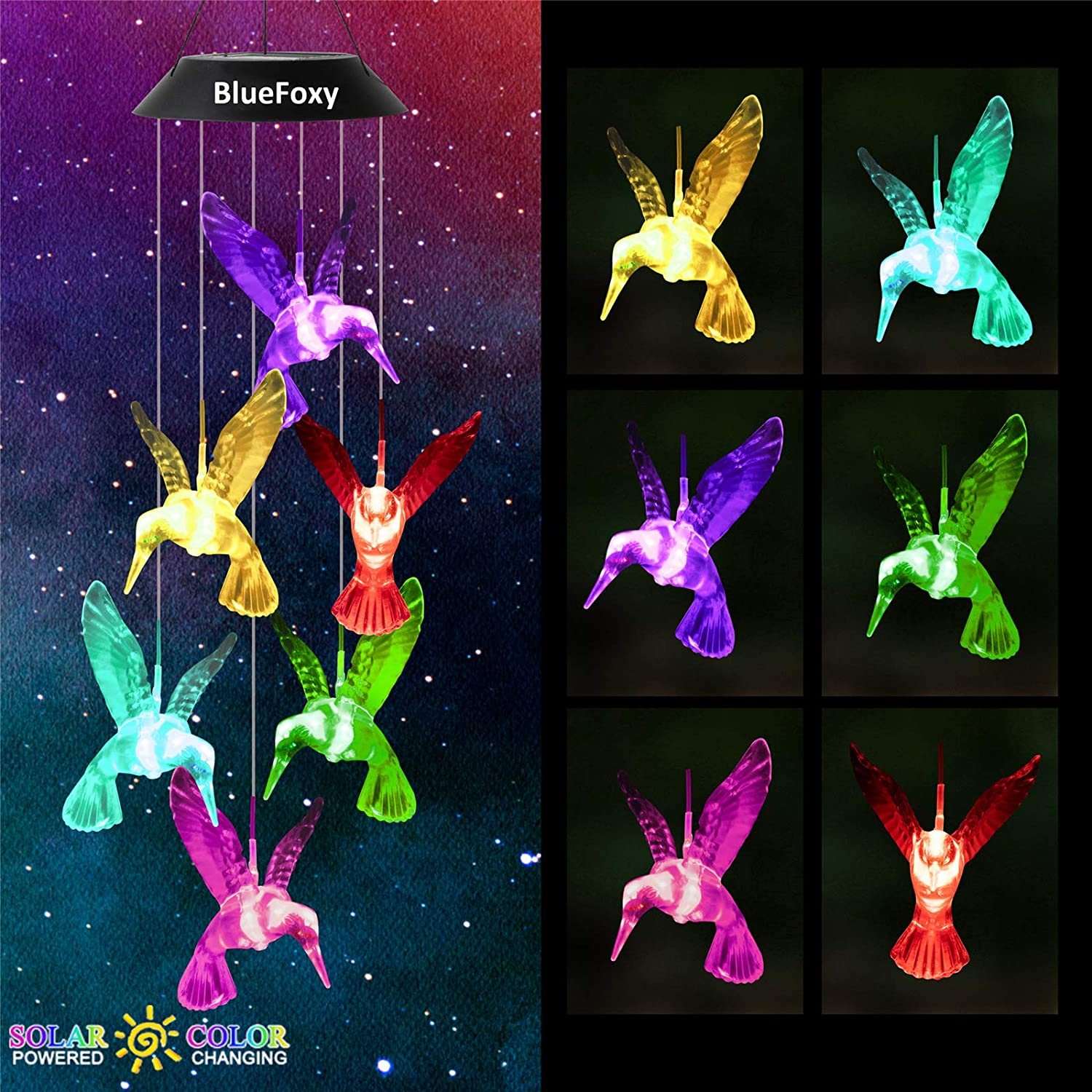 BlueFoxy LED Solar Wind Chime Green Hummingbird Color Changing Waterproof Wind Chimes Light Solar Mobile Hanging Patio String Lights for Home Party Garden Decor Gifts for Mom