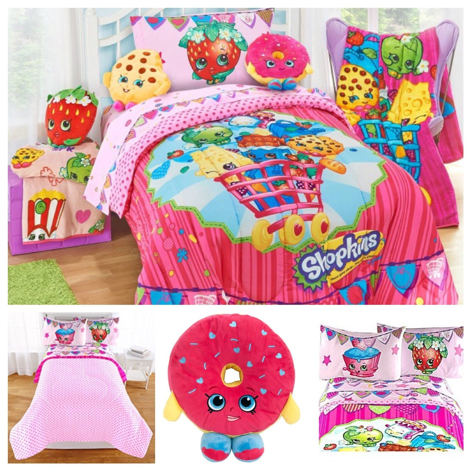 Shopkins Kids Complete Bedding Comforter Set with D'lish Donut Scented Pillow - Twin