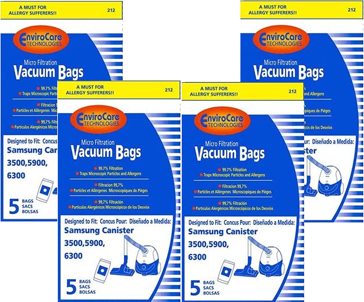 EnviroCare Replacement Micro Filtration Vacuum Bags for Samsung 3500, 5900, 6300 Canisters 20 Bags