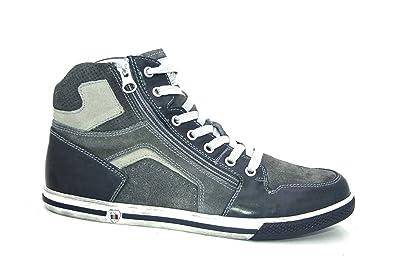 Nero Giardini Sneakers Alte Uomo in Pelle e camoscio Blu P900871U 201 P900871U 201