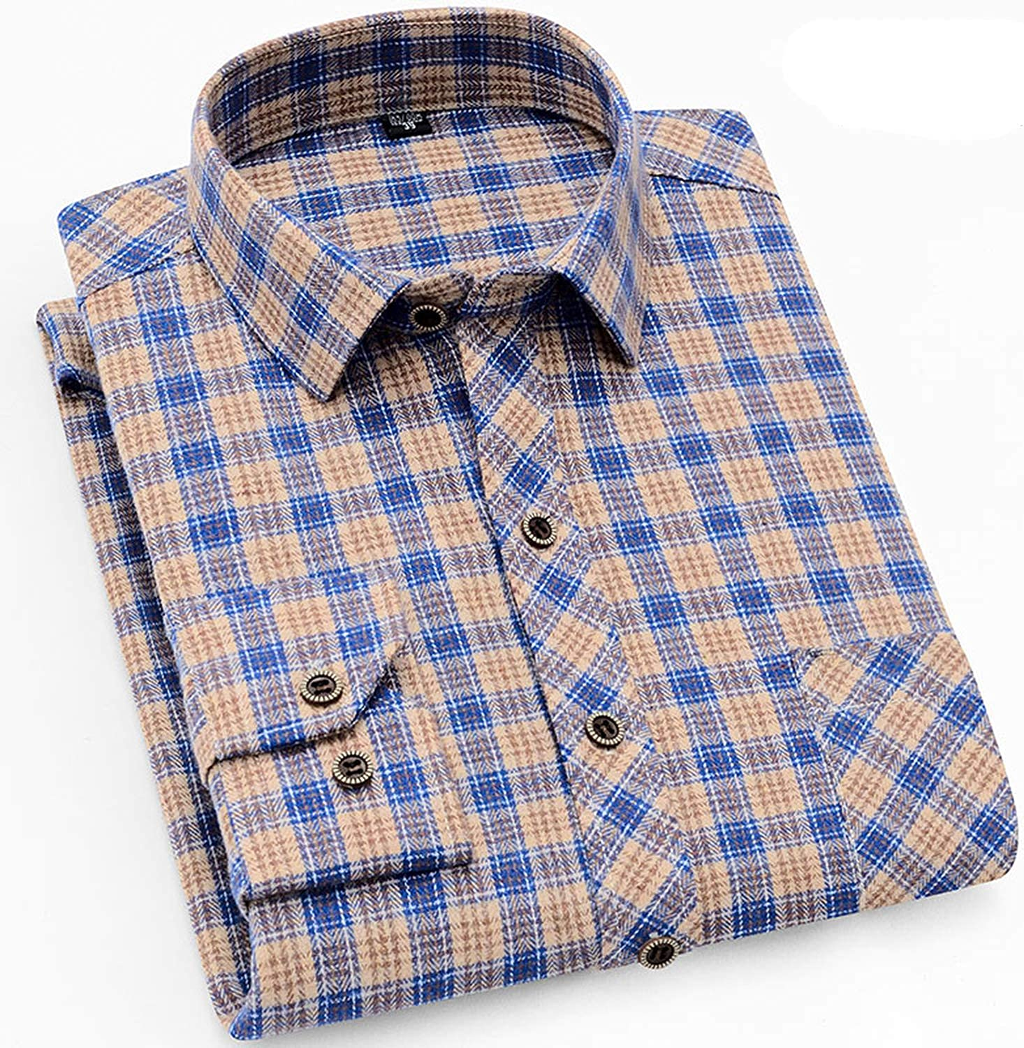 2019 Male Casual Shirts Cotton Flannel Plaid Long Sleeve Shirt,6611,Asian XXL Label 43