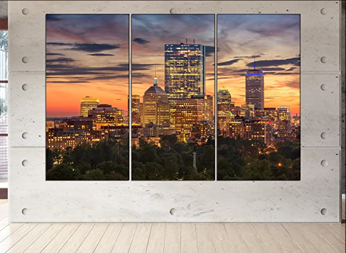 Boston Wall Art Boston Skyline Canvas Boston Wall Decor Boston Large Canvas  Boston Print Boston