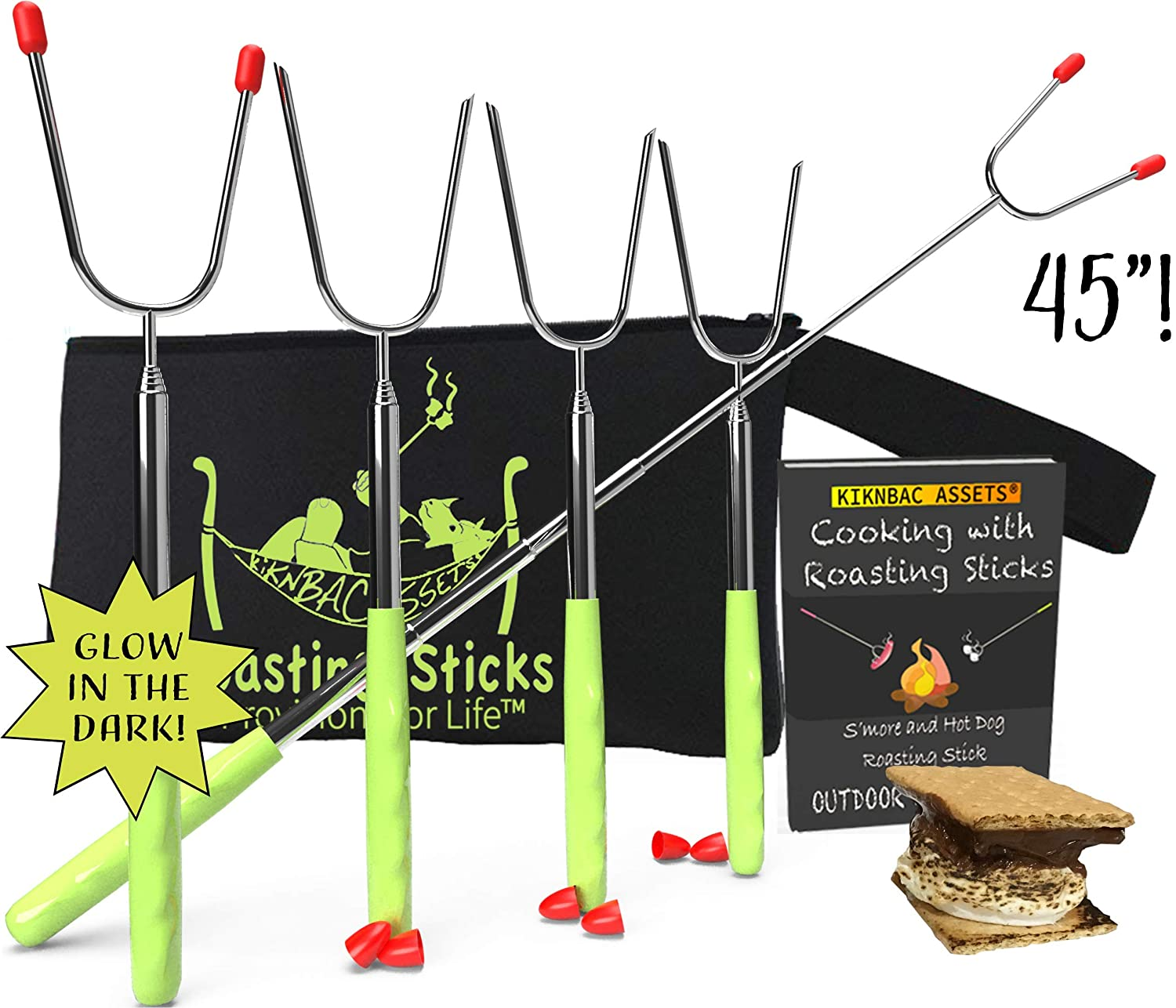 Marshmallow Roasting Sticks for Campfire | Smores Sticks for Fire Pit | Telescoping Hot Dog Roasting Sticks - Smores Skewers Extendable 45 inch Set of 5 Glow in The Dark Smores Kit for Fire Pit 81XZwm4h5eL