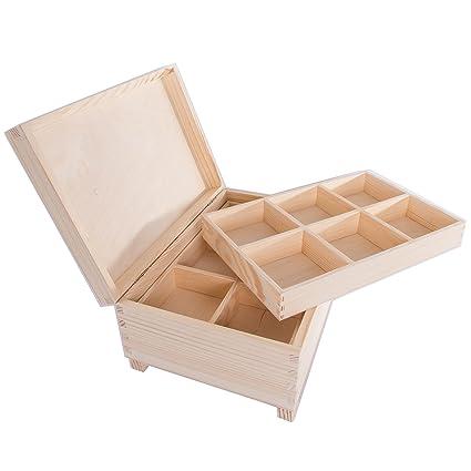 searchbox grande caja de madera con 12 compartimentos/bandejas extraíbles/Caja de almacenamiento/