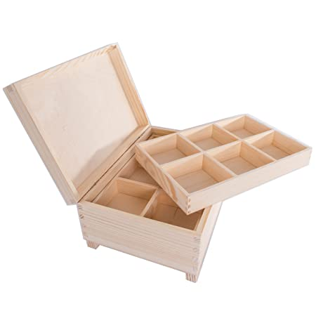 Searchbox Large Wooden Box With 12 Compartmentsremovable Trays