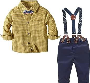Nwada Ropa Bebe Conjunto Niño Pequeño Disfraz Bautizo para Vestir Ropita Otoño Camisa y Pajarita y Pantalones y Tirantes