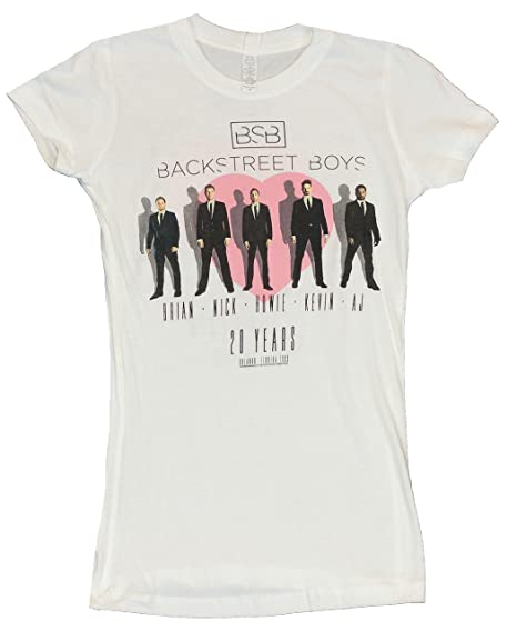 0ad36c2f Amazon.com: Backstreet Boys Girls Juniors T-Shirt - Guys in Front of Pink  Heart 20 Year Tour (Small) White: Clothing